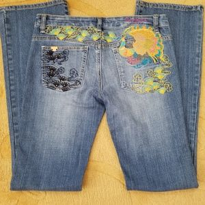 Pepe London Embroidered Bootcut Jeans Size 27